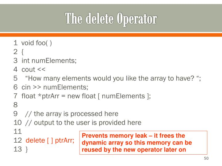The delete Operator
