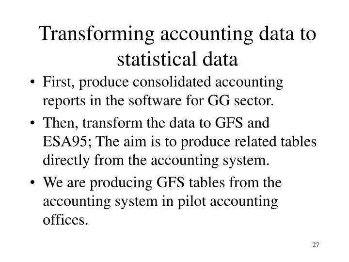 Transforming accounting data to statistical data