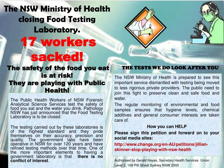 The NSW Ministry of Health closing Food