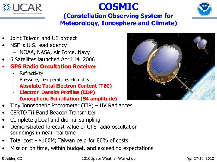 Cosmic constellation observing system for meteorology ionosphere and climate