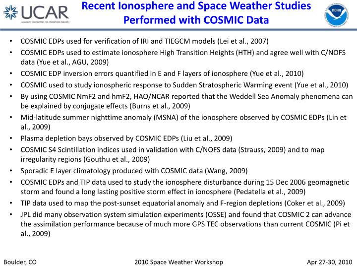 Recent Ionosphere and Space Weather Studies