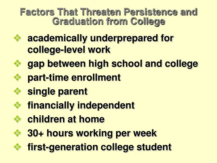 Factors That Threaten Persistence and Graduation from College