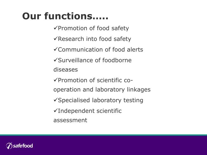 Our functions…..