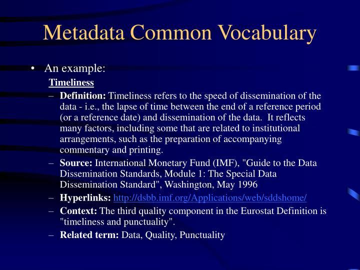 Metadata Common Vocabulary