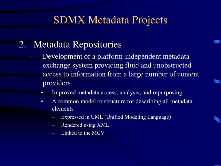 SDMX Metadata Projects