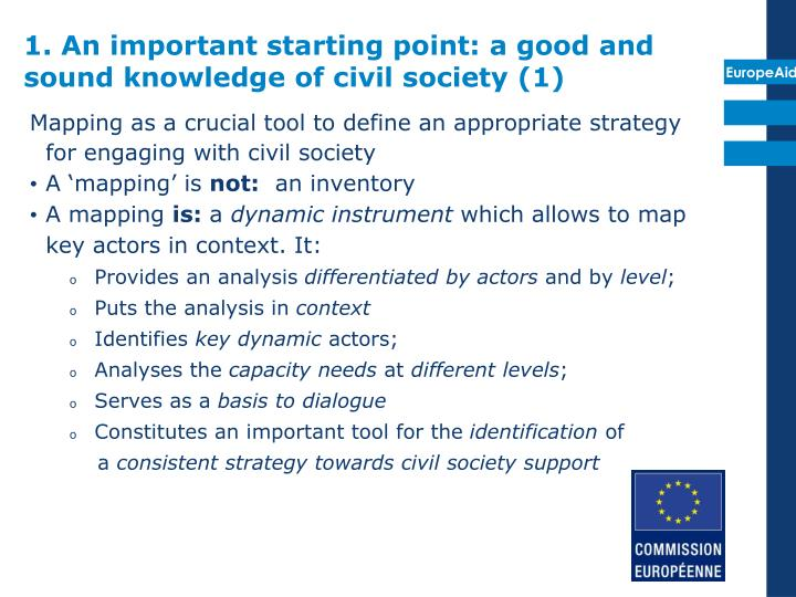1. An important starting point: a good and sound knowledge of civil society (1)