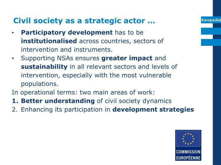 Civil society as a strategic actor