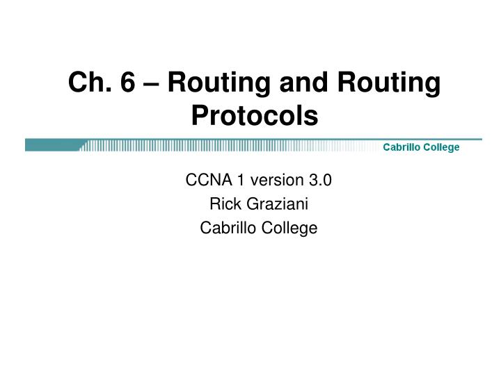 ch 6 routing and routing protocols n.