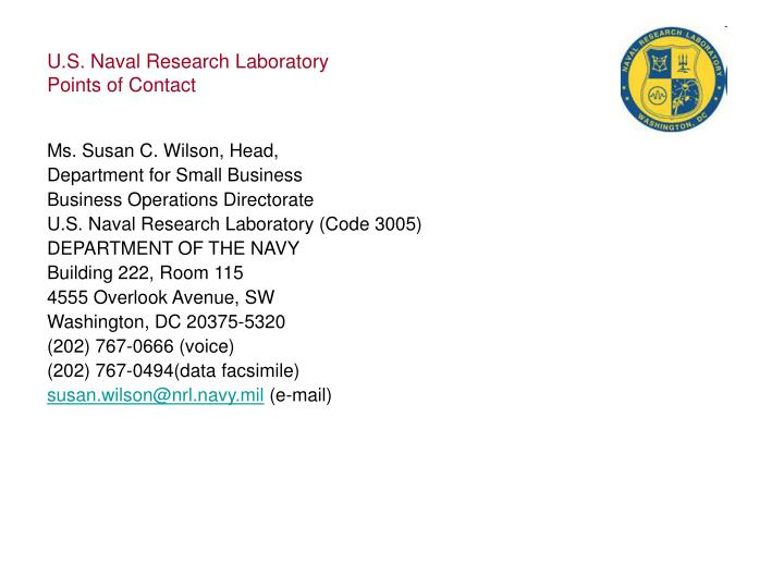 U s naval research laboratory points of contact1