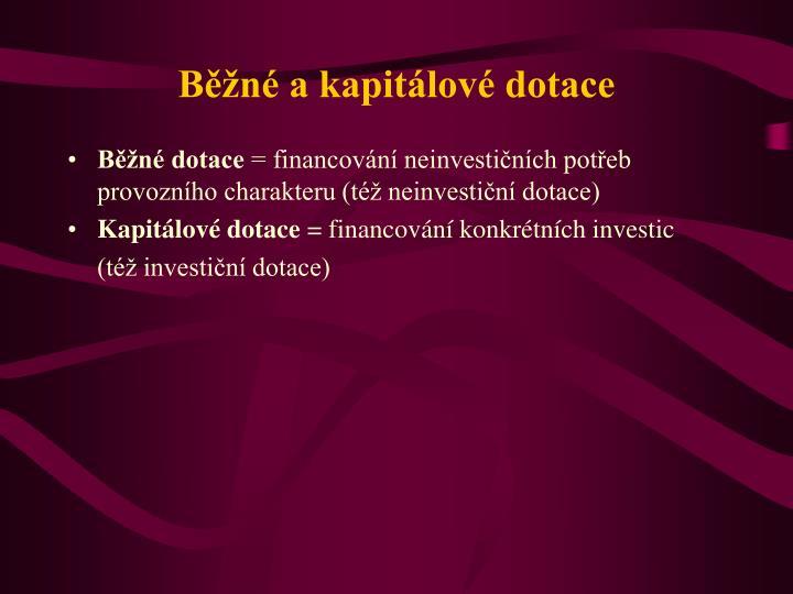 Běžné a kapitálové dotace