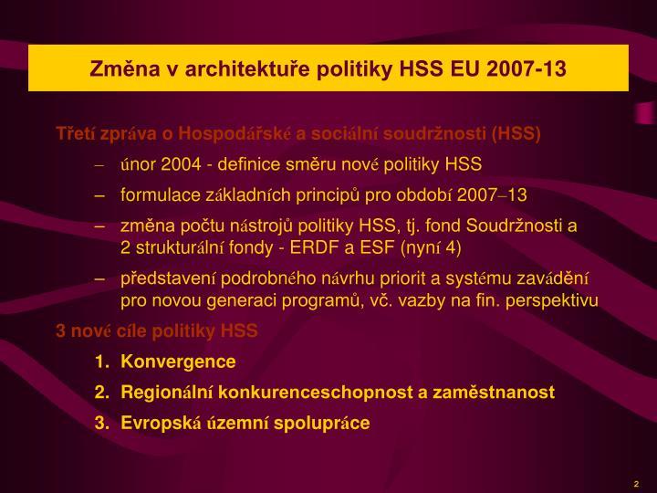 Změna v architektuře politiky HSS EU 2007-13