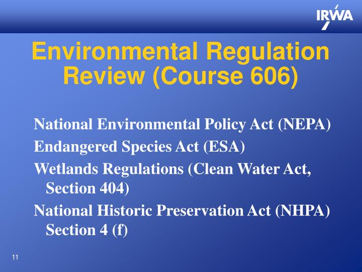 Environmental Regulation Review (Course 606)