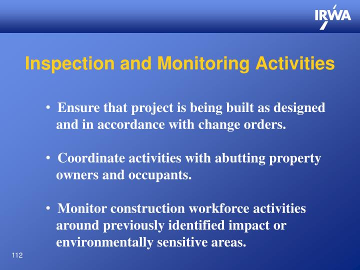 Inspection and Monitoring Activities