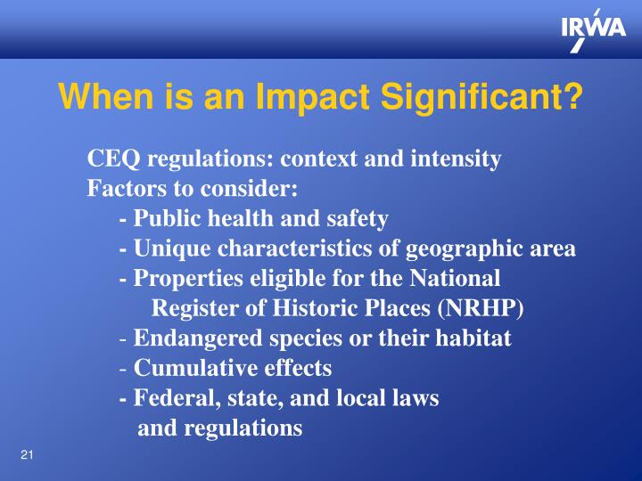 When is an Impact Significant?