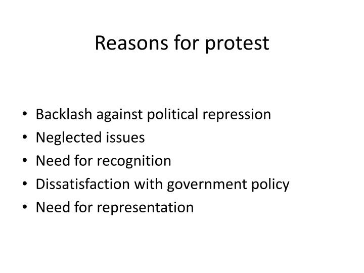Reasons for protest