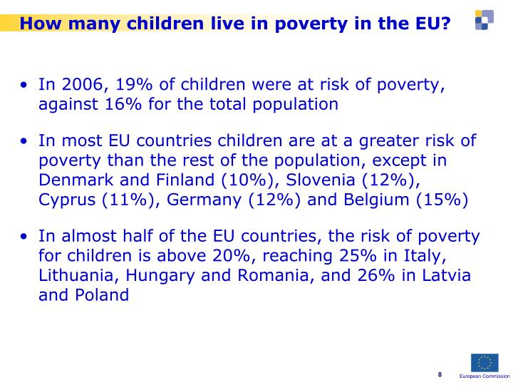How many children live in poverty in the EU?