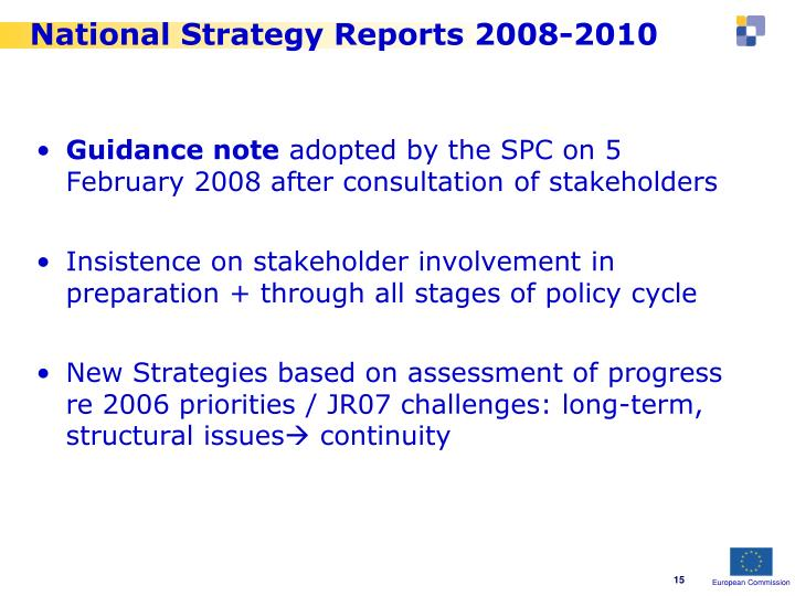 National Strategy Reports 2008-2010