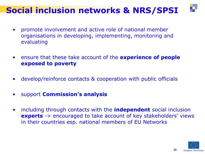Social inclusion networks & NRS/SPSI