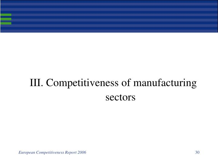 III. Competitiveness of manufacturing sectors