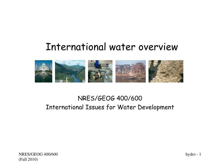 international water overview n.