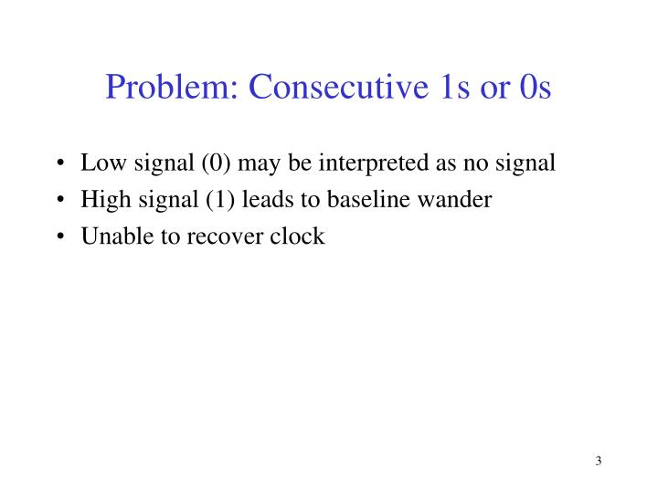 Problem consecutive 1s or 0s