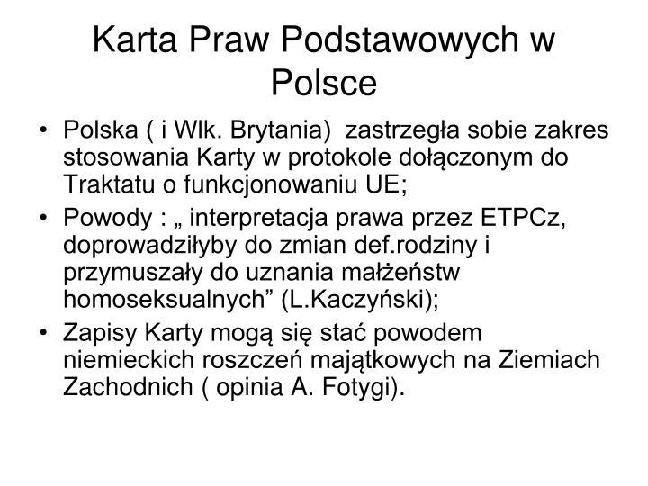 Karta Praw Podstawowych w Polsce