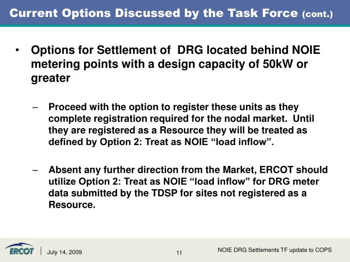 Current Options Discussed by the Task Force