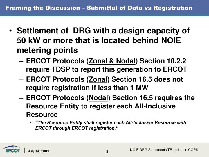 Framing the discussion submittal of data vs registration