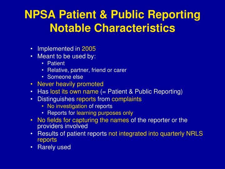 NPSA Patient & Public Reporting