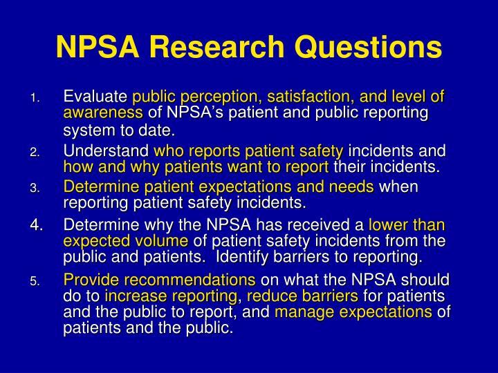 NPSA Research Questions
