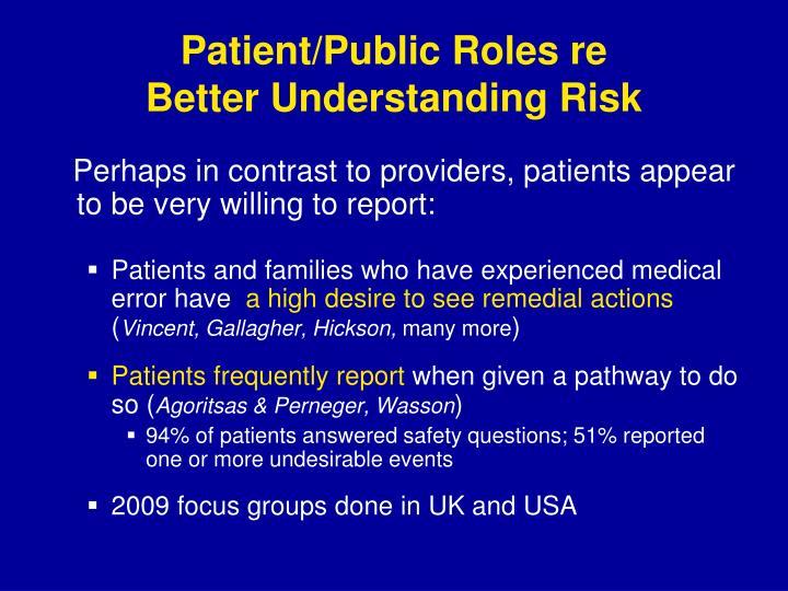 Patient/Public Roles re