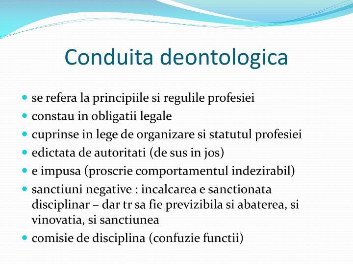 Conduita deontologica