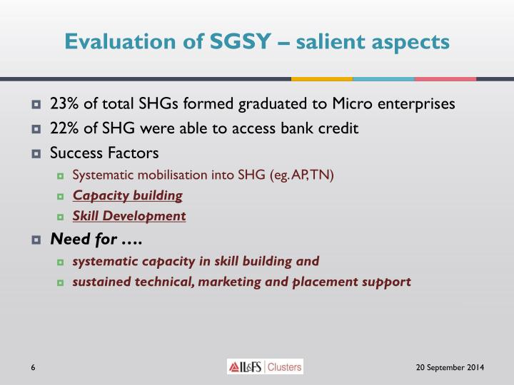 Evaluation of SGSY – salient aspects