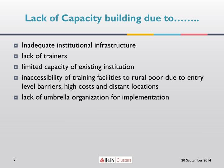 Lack of Capacity building due to……..