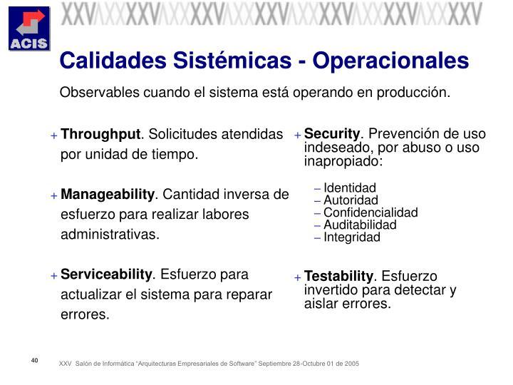 Calidades Sistémicas - Operacionales