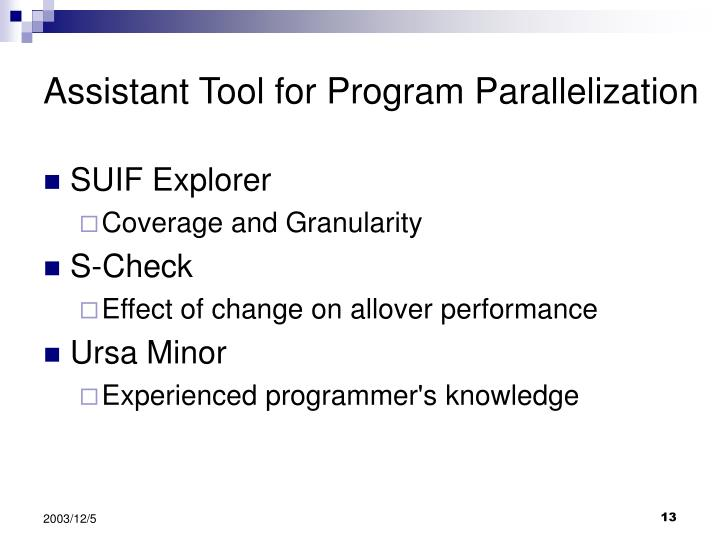 Assistant Tool for Program Parallelization