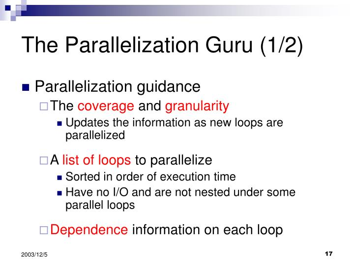 The Parallelization Guru (1/2)