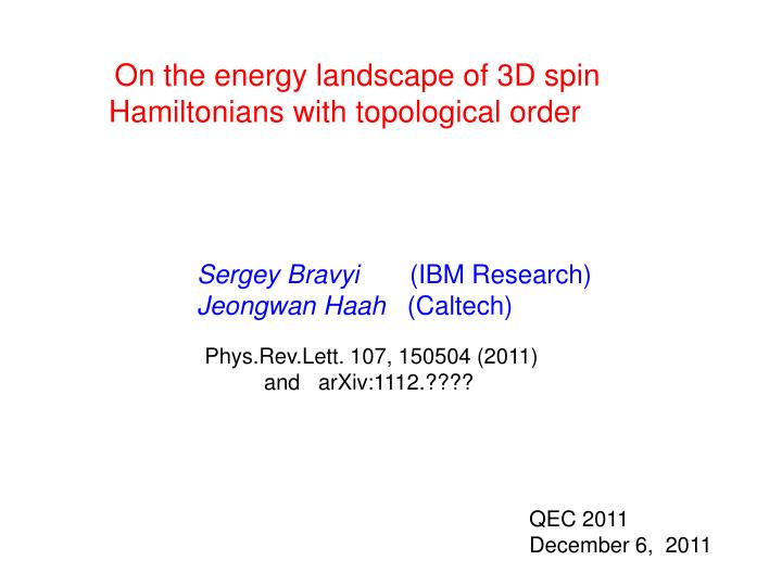 On the energy landscape of 3D spin