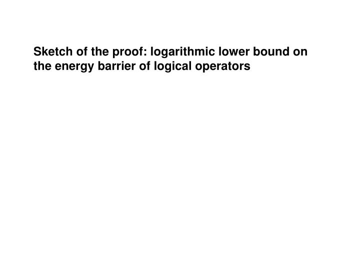 Sketch of the proof: logarithmic lower bound on