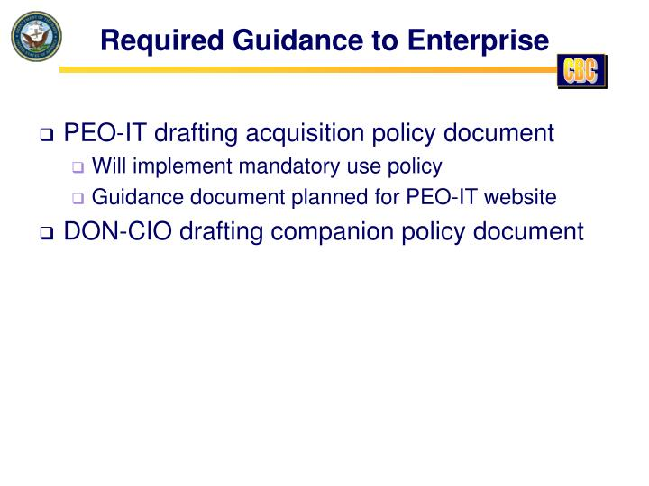 Required Guidance to Enterprise