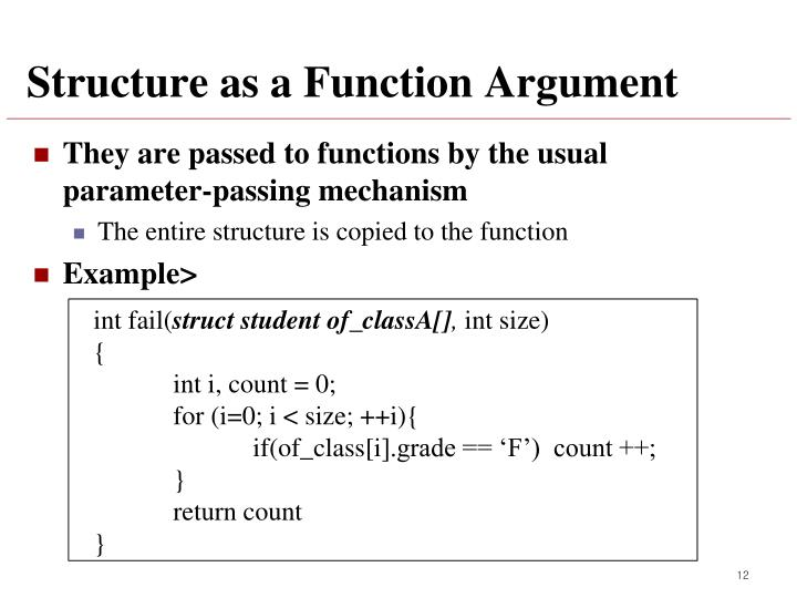 Structure as a Function Argument