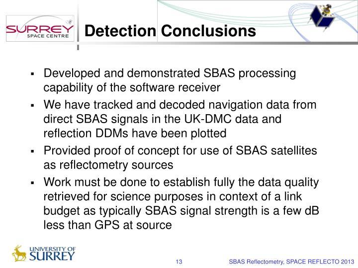 Detection Conclusions