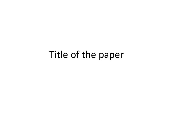 title of the paper n.