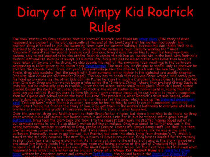 Diary Of A Wimpy Kid Rodrick Rules Book Funbrain