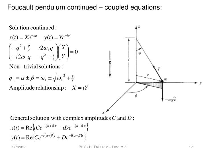 Foucault pendulum continued – coupled equations: