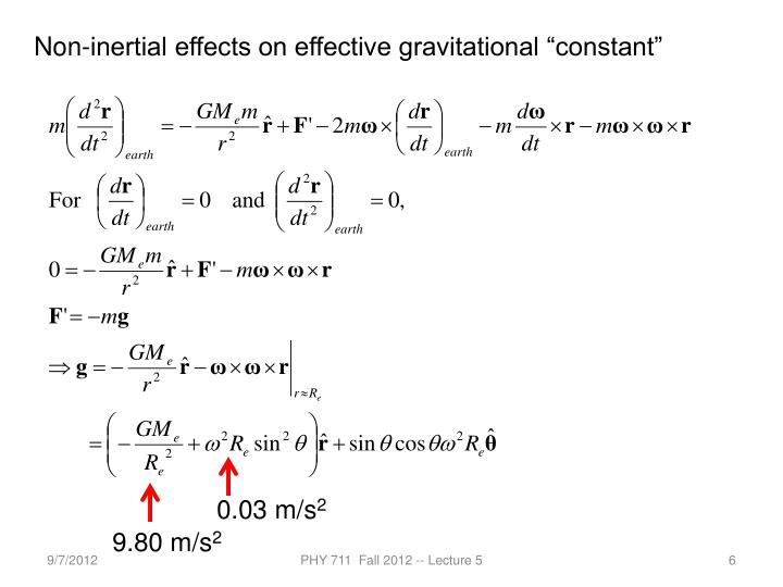 "Non-inertial effects on effective gravitational ""constant"""