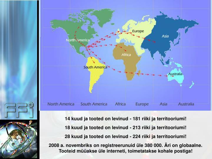 14 kuud ja tooted on levinud - 181 riiki ja territooriumi!