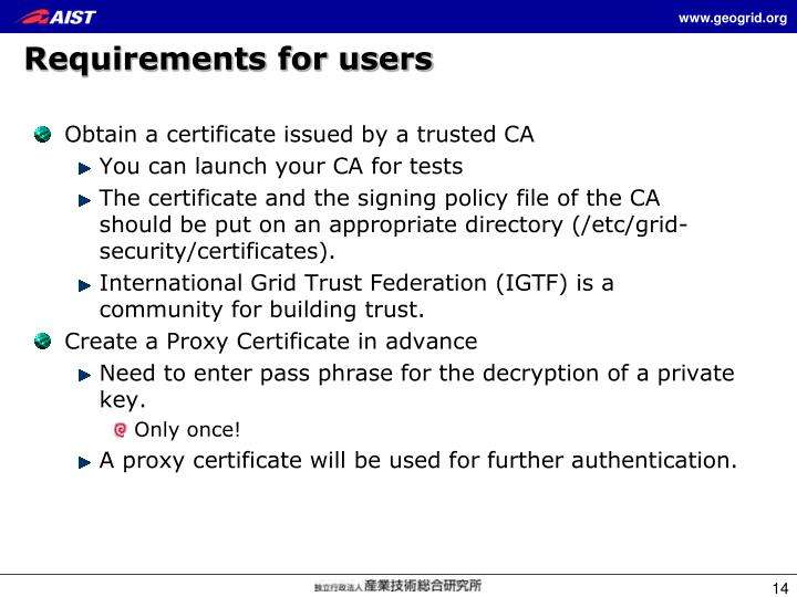 Requirements for users