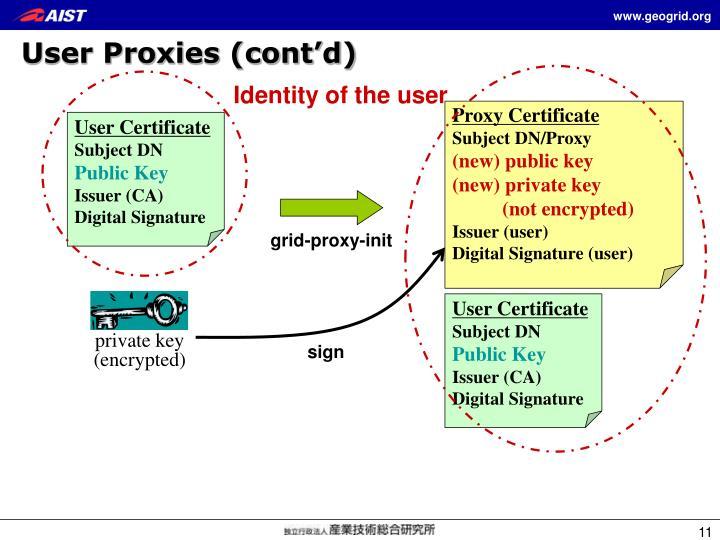 User Proxies (cont'd)