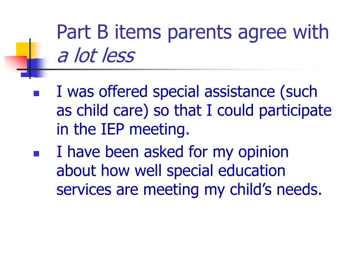 Part B items parents agree with